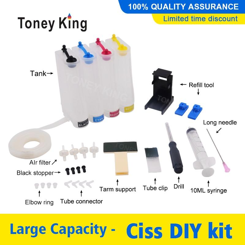 Sistema de suministro continuo de tinta CISS kit de accesorios tanque para HP901 901xl Deskjet serie 4500 J4580 J4550 J4540 4500 J4680 J4524 J4535