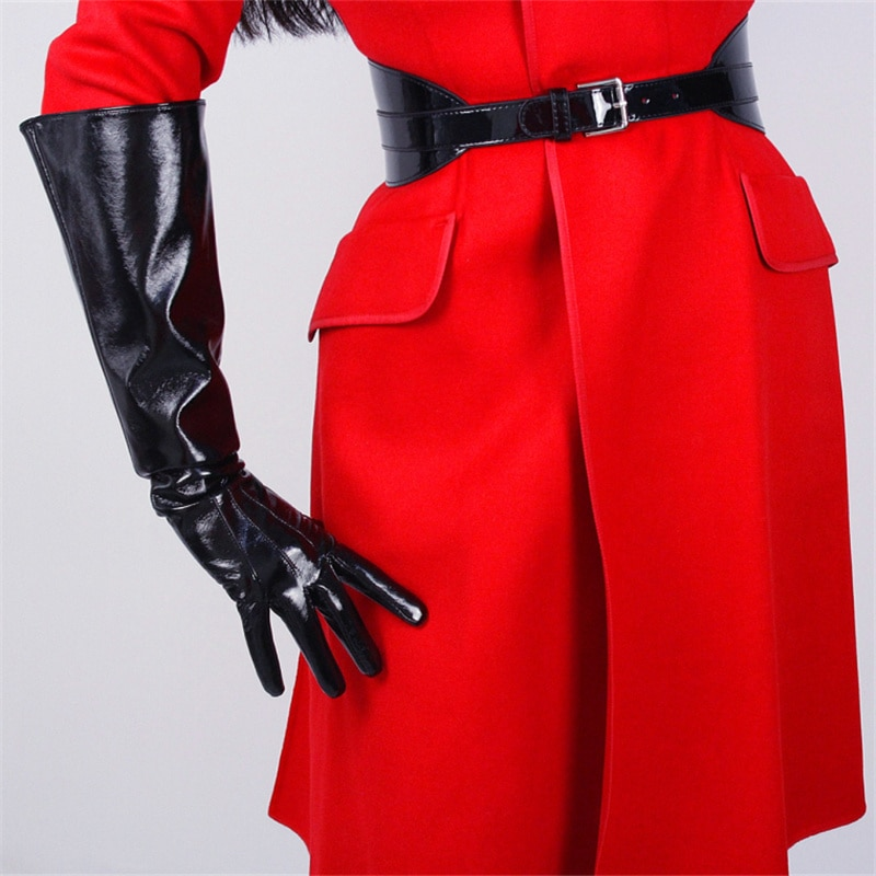 Patent Leather Wide Sleeves Simulation Gloves Mirror Bright Black 50cm Men And Women TB87