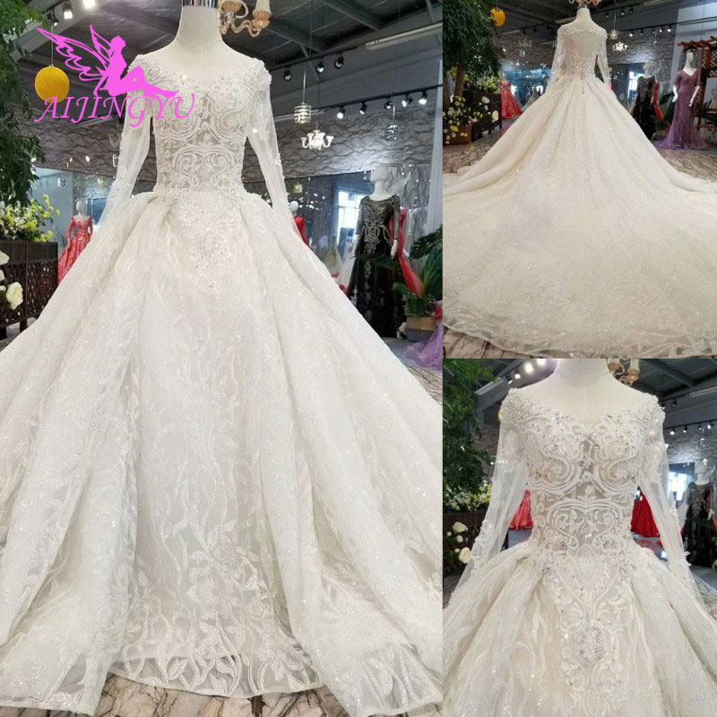 AIJINGYU العروس مبذل استيراد فساتين العرائس الأبيض Bridals العربية طويل الزواج أنيقة أثواب ل الزفاف الصورة الحقيقية