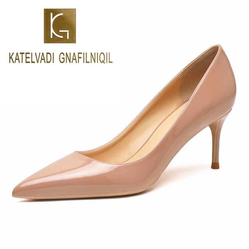 Katelvadi bege sapatos femininos sapatos de couro patente mulher salto alto moda 6.5cm sapatos de salto alto, K-323