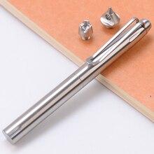 Stylo tactique en acier inoxydable   Fournitures durgence, stylo de protection automatique, outil de coupe-verre 3 têtes dattaque remplaçables
