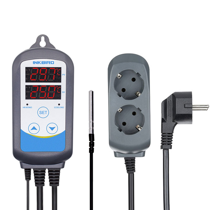 Inkbird, 12 períodos, temporizador, ITC-310T-B de escenario, calefacción Digital y refrigeración, controlador de temperatura precableado para invernadero de elaboración casera