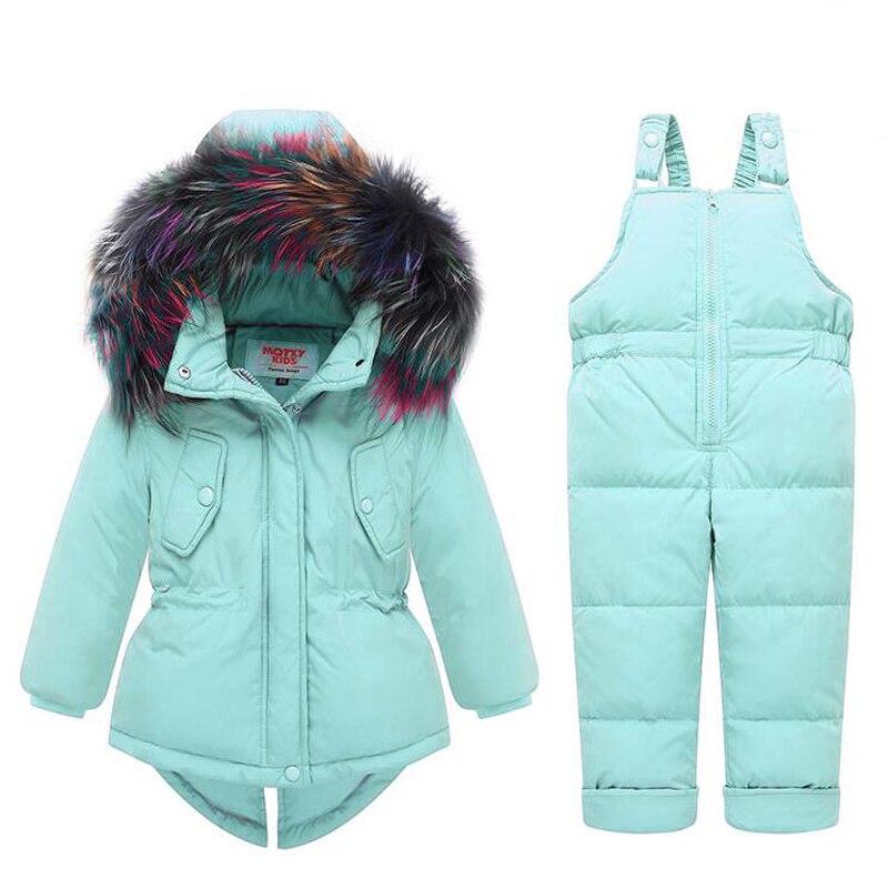 Komplety niemowlęce dla dzieci dziewczynka-25 stopni rosja zimowe kolorowe futro z kapturem płaszcz + kombinezon ogólny śnieg ubranie dla dzieci