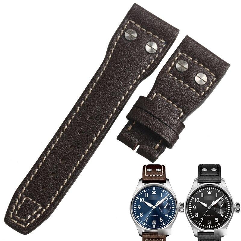 Pulseira para Relógios Bezerro-pulseira de Couro Pulseira de Couro de Couro de Vaca Pilot's Wentula Genuíno Iw500916 Iw500908