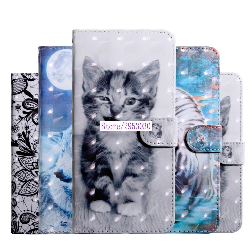 Para Huawei Y6 2018 Y62018 cartera caso Flip Funda de cuero del teléfono ATU-L11 ATU-L21 ATU L11 L21 L22 LX1 LX3 6 y LX2 pintado 3D casos