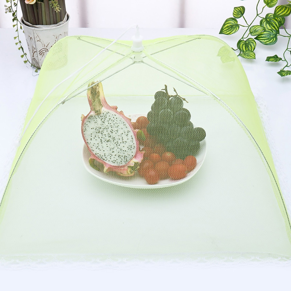 1 Pop-up de malla de cocina doblado cubierta de malla para alimentos Anti mosca Mosquito paraguas higiene red plato de comida de red para paraguas Picnic 64P