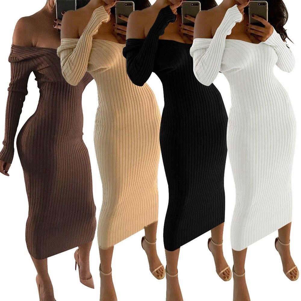 Vestidos Largos de verano para mujer, Vestidos sexis de manga larga en Blanco y negro, Vestidos de tubo, Vestido Blanco y Largo 2021