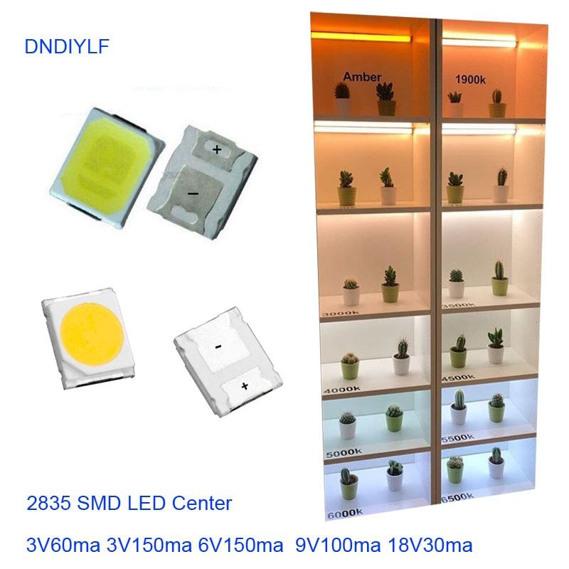 2017New SMD LED 2835 белый чип 0,5 Вт 3V150mA 50-65LM ультра яркий SMT 0,5 Вт поверхностное крепление PCB Светодиодная лампа