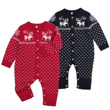 Nuevo pelele para bebé niña recién nacido niños niñas ciervo tejido mameluco para bebés invierno cálido pelele trajes ropa de Navidad