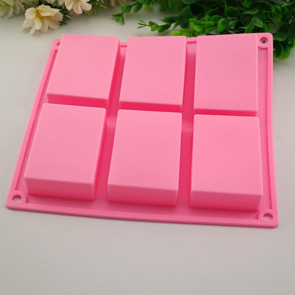 6 полости, простые базовые прямоугольные силиконовые формы для мыла, формы для выпекания, лоток для самодельного мыла DIY, инструменты для декора мыла, Moule Savon