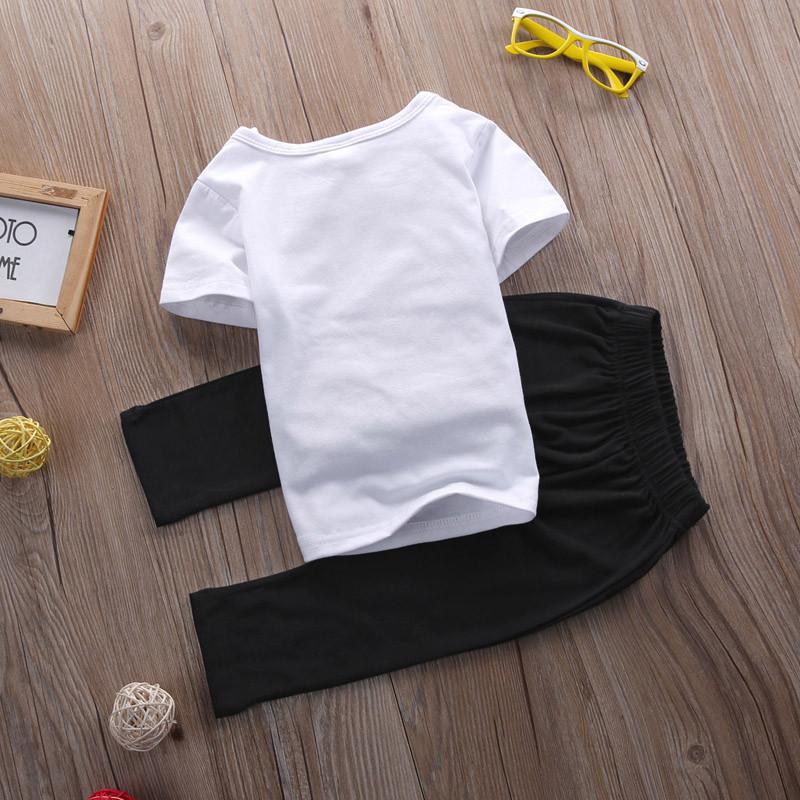 0-24 M Dziecko Niemowlę Toddle Dziewczyny Boys Baby Ubrania Letnie Krótkie Mama rękawa T-Shirt Top + Pant 2 sztuk Outfit Odzież Bebes zestaw 6