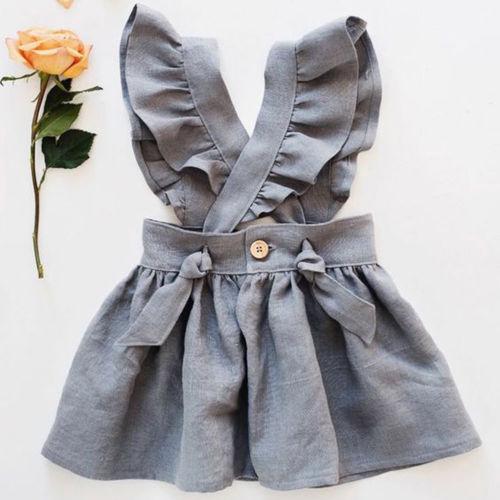 US chico bebé niña Cruz vestido de tirantes vestido de fiesta Fuffel manga sólida vestido ropa