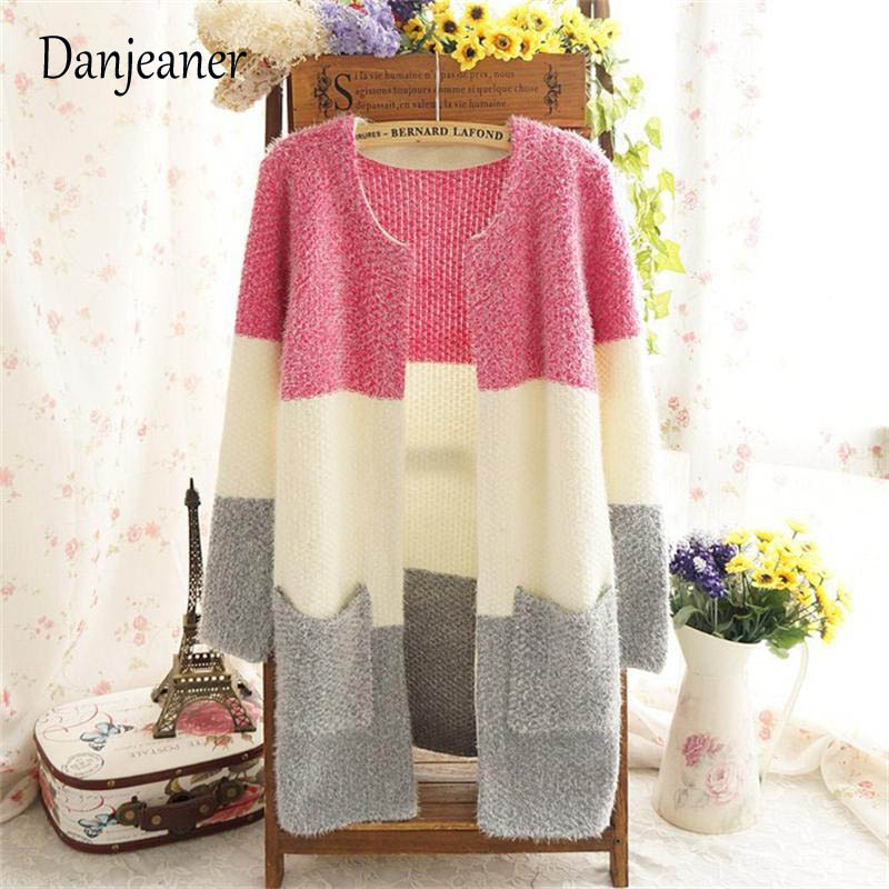 Женский Длинный мохеровый свитер danganer, повседневный вязаный свитер с круглым вырезом и длинным рукавом, на осень и зиму