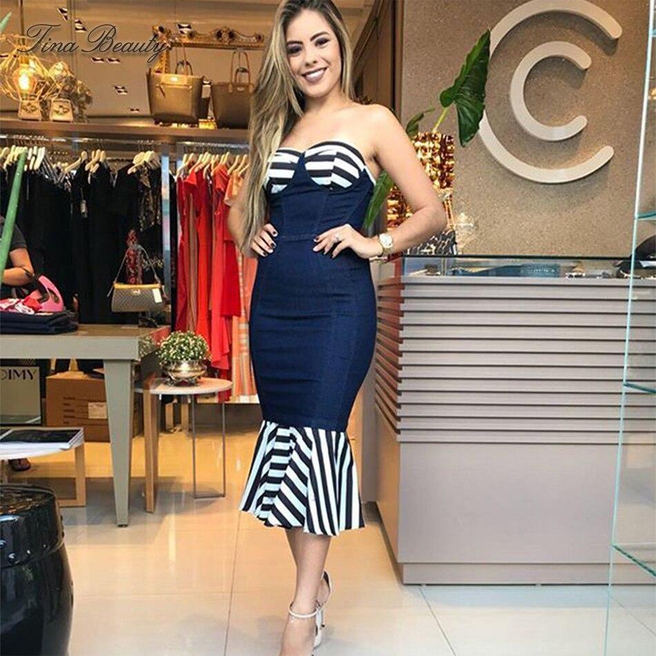 Tina Beauty vestido azul sin tirantes por encima de la rodilla vestido de alta calidad Bustier Match Color Strip sirena Hem Bandage vestido