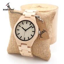 BOBO BIRD hommes blanc érable montres en bois avec des liens en bois de bambou casual Quartz montre-bracelet dans une boîte cadeau livraison gratuite