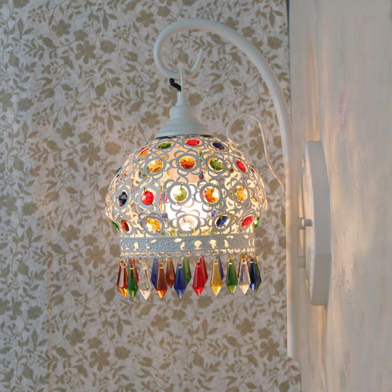 beauty house Bohemia Mediterranean color crystal  bar balcony wall  lamp