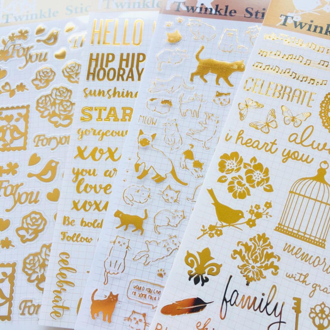 Dorado brillo diario decorativa Washi pegatinas Scrapbooking palo etiqueta diario papelería álbum pegatinas