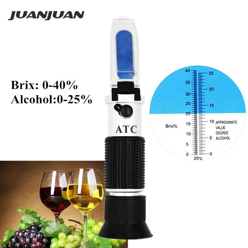 Refractómetro de alcohol de mano para azúcar Brix 0-40% alcohol 0-25% alcoholímetro refractómetro de azúcar 46% de descuento