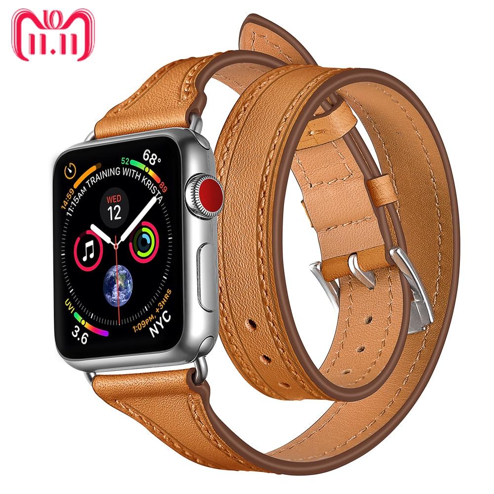 Correa de cuero para apple watch correa 44mm/40mm correa apple watch 38/42mm pulsera correa de muñeca doble recorrido bucle iWatch serie 4 3 2