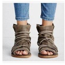 Dame Sexy parti gladiateur bohême Andals chaussures grande taille 34-43 femmes été plat Bandage Pu cuir sandales chaussures
