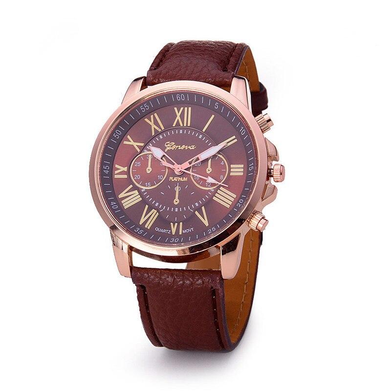 ¡Novedad de 2019! Reloj clásico verde oscuro con números romanos de Geneva, reloj de pulsera analógico de cuarzo de cuero de imitación para mujer, relojes femeninos