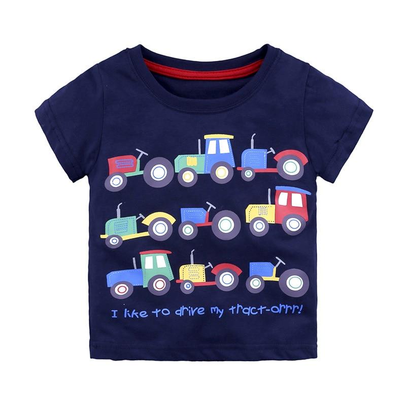 Новые летние футболки для новорожденных мальчиков брендовые Детские футболки с машинками футболки для маленьких мальчиков