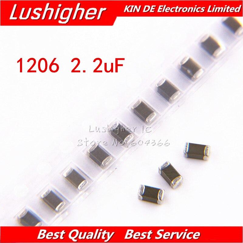 100 Uds 1206 2 2 Uf 2200nf 225k 250v X7rerror 10 Smd Cerámica Condensador Mlcc Condensadores Aliexpress