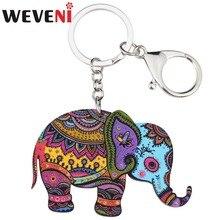 WEVENI  Acrylic Jungle Elephant Jewelry Key Chains Keyrings For Women Girl Bag Driving Car Key Handbag Wallet Charms Keychain