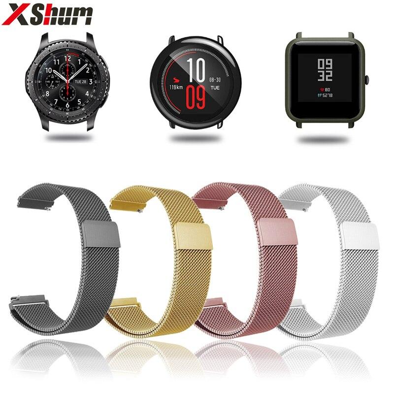 Xshum 22mm 20mm pulseira pulseira de metal inoxidável banda para xiaomi amazfit bip ritmo magnético para relógio inteligente gts gtr stratos