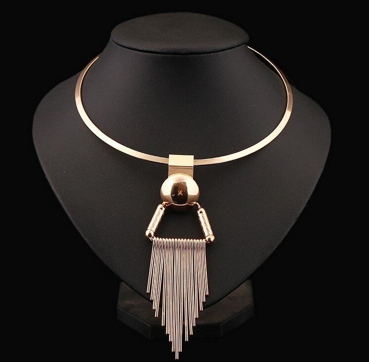 Exagero ouro prata cor étnica cigano punk metal torques borlas geométricas colares & pingentes feminino jóias