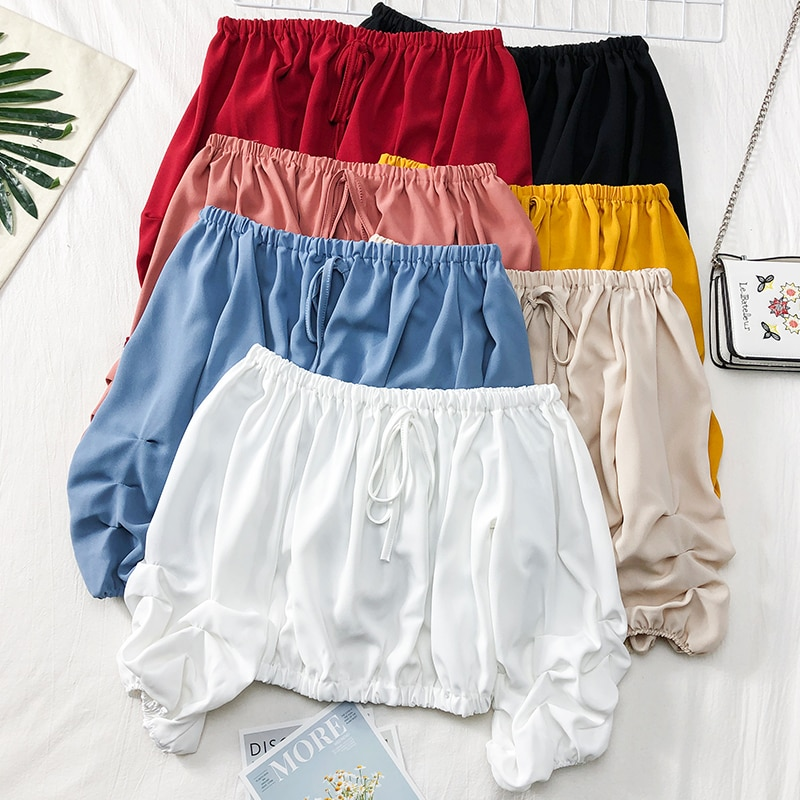 Women Summer Slash Neck Lantern Sleeve Ruffles Lace Up Bandage Shirt Casual Short Elastic Slim High Waist Pullover Blouse Tops