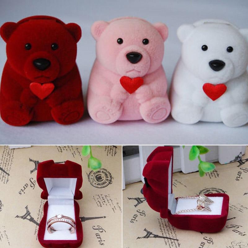 Креативные бархатные серьги с бантом и медведем, кольцо, браслет, коробка для демонстрации ювелирных изделий, свадебное кольцо, подарок на день Святого Валентина, органайзер, 1 шт., подарочная сумка