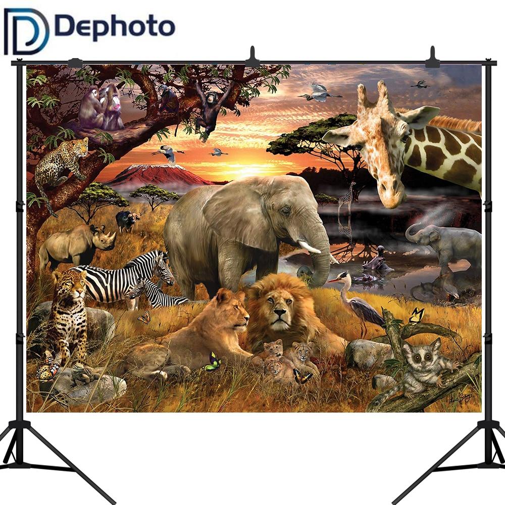 Fondo de foto para foto animales africanos elefante León Safari fotografía telón de fondo photocall photobooth shoot prop