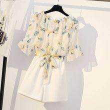 Nouveau été femmes survêtement vêtements femme imprimé fleuri hauts et Shorts 2 pièces ensemble dames décontracté Vintage mince costumes tenues F165