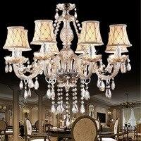 European industrial retro LED chandelier candle crystal pendant lamps living room fixtures bedroom restaurant hanging lighting