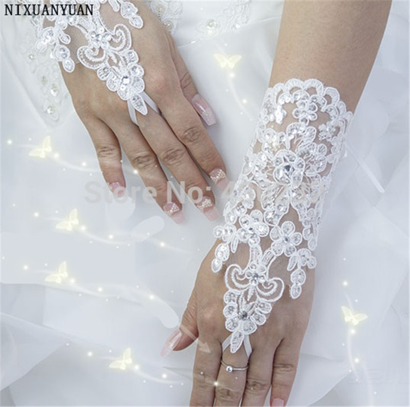 Elegant Beaded Lace Satin Short Bridal Gloves 2021 Fingerless Wedding Gloves White Ivory Wedding Accessories Veu De Noiva