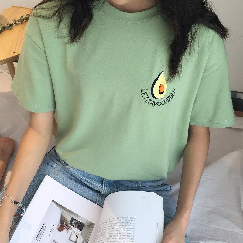 Camiseta bordada de aguacate para mujer de manga corta de fruta divertida harajuku kawaii