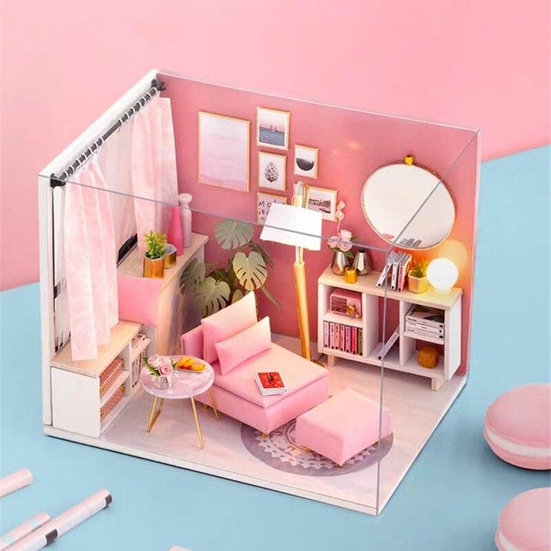 Деревянный миниатюрный кукольный домик «сделай сам», прекрасный кукольный домик с мебелью, Наборы игрушек ручной работы, креативный подаро...
