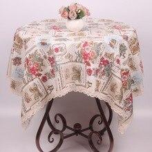 CURCYA nappe de Table en coton et lin   Timbres floraux romantiques, couverture de Table Vintage pour fête de mariage, noël