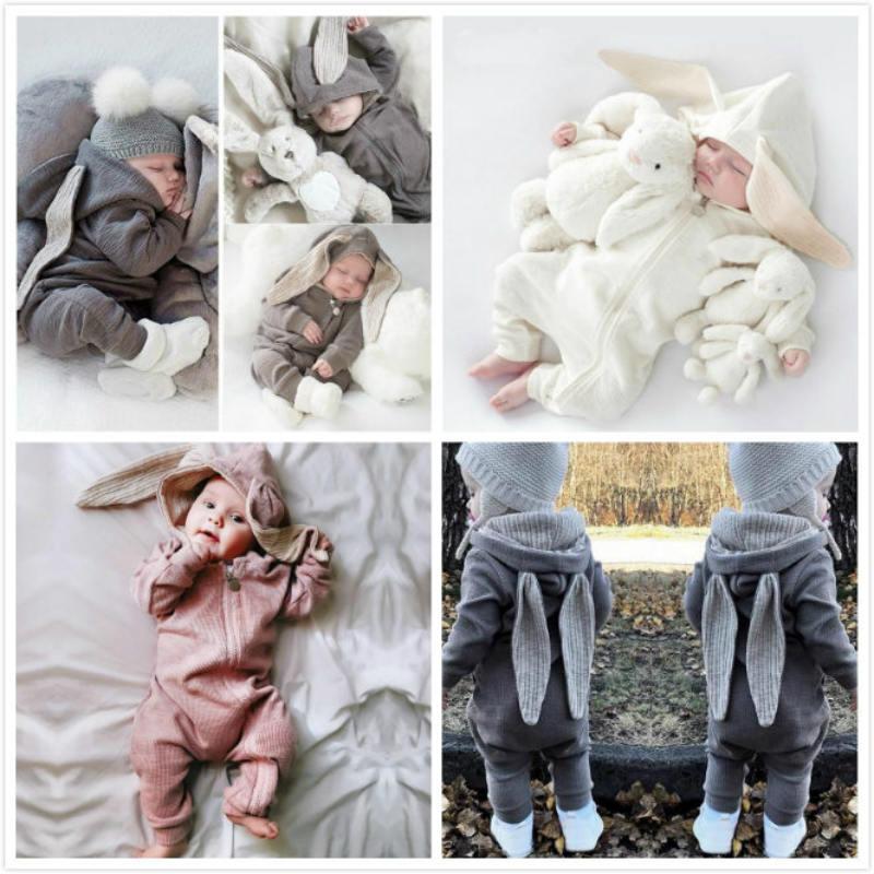 Ropa de bebé, peleles para bebés, conejo grande con capucha, cremallera, pelele para niña, ropa de niño para las cuatro estaciones, Harleys gris, ropa de bebé mono