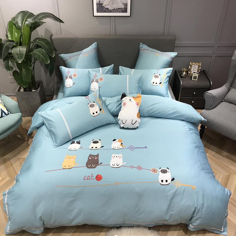 Queen King size Cotton Bedding Set Blue Cute Cats Cartoon Bed set Duvet cover Fitted Bed sheet parrure de lit juego de cama