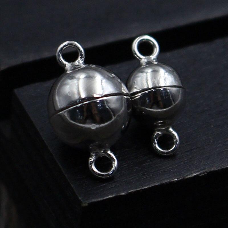 Collar magnético de perlas de plata de ley 100% 925, cierres de bola redonda de 6mm y 8mm, broche de conector magnético para fabricación de joyas DIY