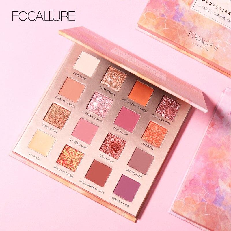 FOCALLURE, nueva paleta de sombra de ojos Sunrise, 16 colores, brillo, pigmento mate, sombra de ojos, polvo suelto, sombra de calidad de lujo