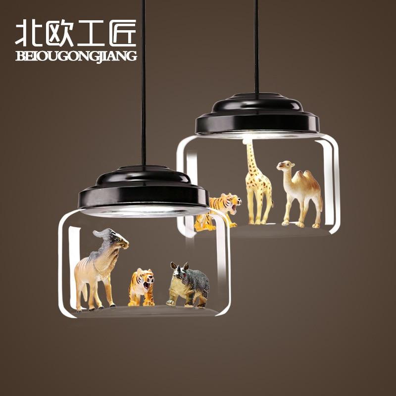 Nordic quarto das crianças animal tigre modelo de vidro abajur luz pingente sala de jantar sala estar cafe bar quarto