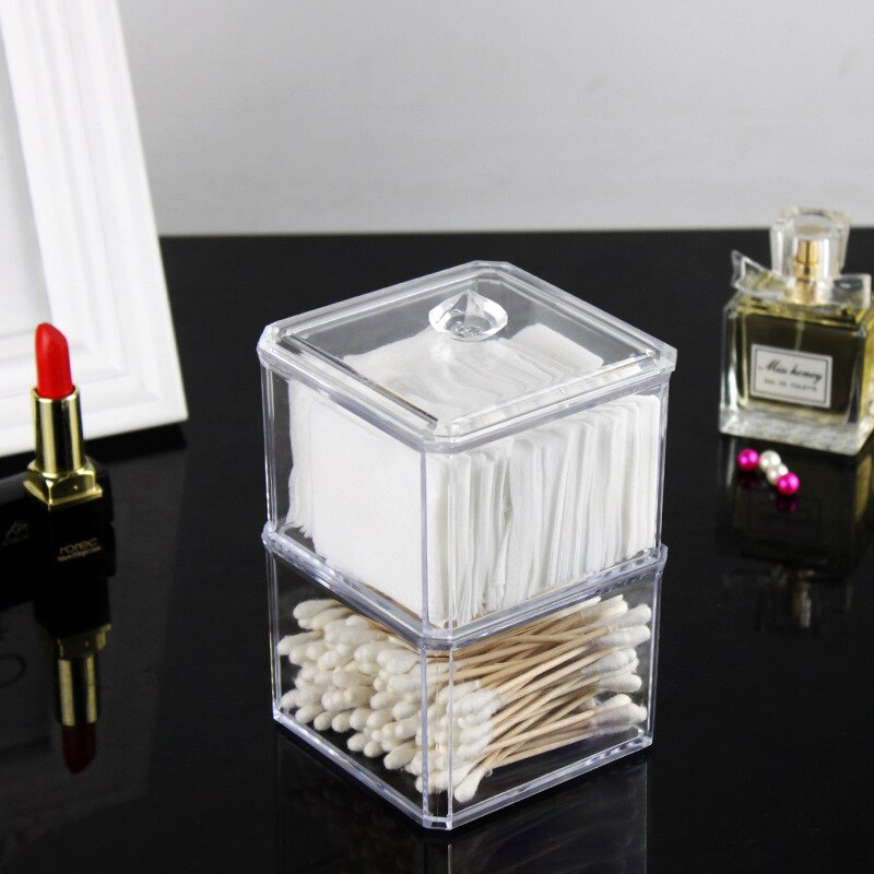 Acrylic Make Up organizer Transparent Cotton Swab Storage Box Storage Case Portable Container Makeup Organizer Plastic Box