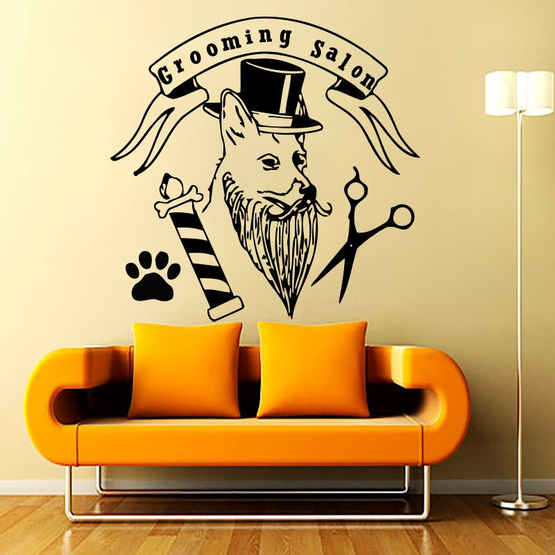 ZOOYOO creativo aseo salón pared pegatina perro con sombrero Paw impresión tijeras hogar Decoración mascotas tienda pared calcomanías niños habitación papel pintado
