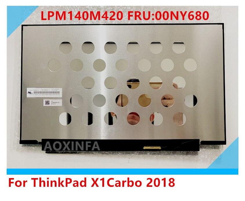 For Thinkpad X1 carbono 2017/18/19 T490 WQHD 2560X1440 pantalla LCD Dolby pantalla 40pin LPM140M420 B140QAN02.0 00NY679 01YU646