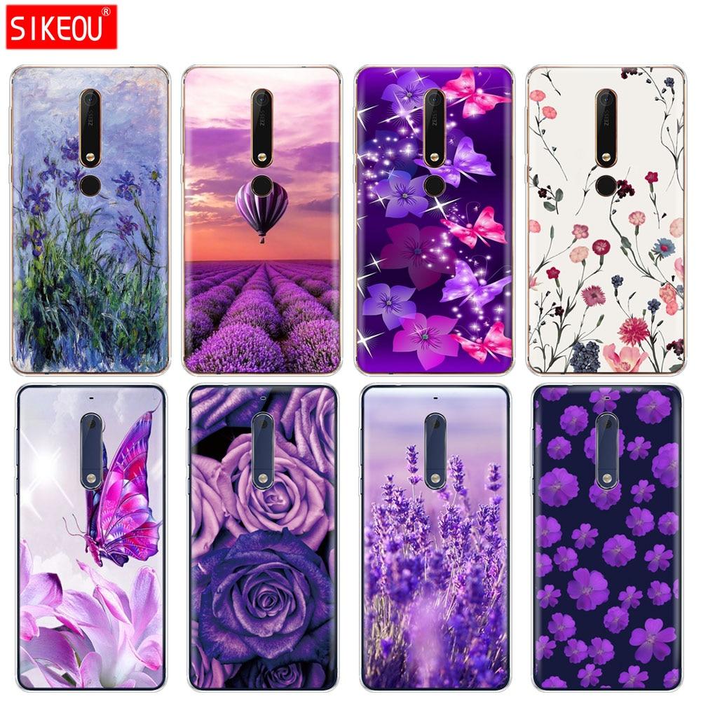 Capa de silicone caso telefone para nokia 5 3 6 7 plus 8 9/nokia 6.1 5.1 3.1 2.1 6 2018 simples lavanda roxo flores design