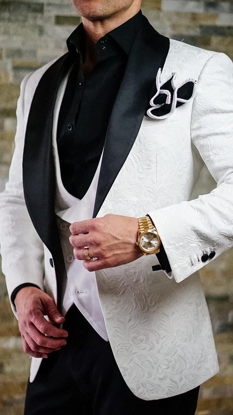 New Design One Button White Paisley Groom Tuxedos Shawl Lapel Groomsmen Best Man Mens Wedding Suit (Jacket+Pants+Vest+Tie) W:295