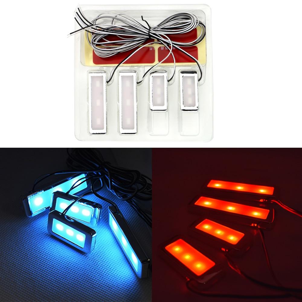 LEEPEE decorativo 3 LEDs Auto lámpara Interior 4 Uds apoyabrazos Universal Interior Bowl luces fresco manija puerta iluminación